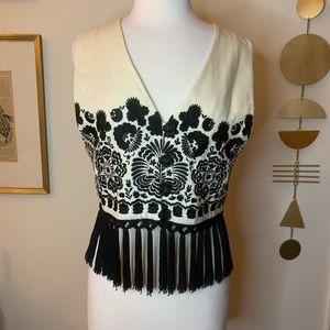 Vintage boho embroidered vest with fringe